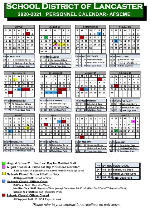 afscme calendar
