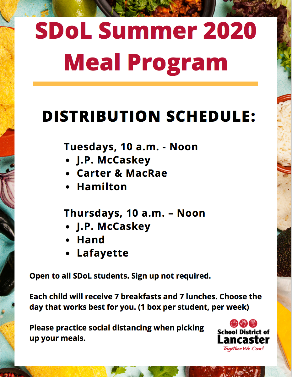 summer meal plan distribution schedule